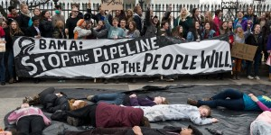 Students protesting against the proposed Keystone XL pipeline chant slogans in front of the White House in Washington,DC on March 2, 2014. tudents from around the country gathered to oppose the tar sands oil pipeline from Canada, which they say is dangerous for the environment. US Secretary of State John Kerry is set to announce in the coming months whether the proposed $5.4 billion oil pipeline serves the national interest and will be constructed following years of confrontation between environmentalists and the oil industry. AFP PHOTO/Nicholas KAMM (Photo credit should read NICHOLAS KAMM/AFP/Getty Images)