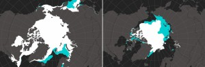 A graphic showing arctic sea-ice melt: A comparison of March (left) and September (right) sea ice extent between 1979 (white plus blue) and 2014 (white)